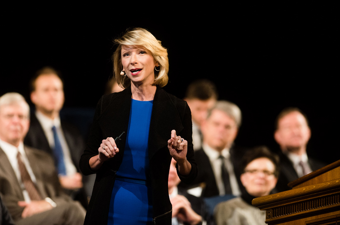 Social Psychologist Amy Cuddy delivers a forum address on the keys to success. (Savannah Hopkinson) - credit: The Daily Universe