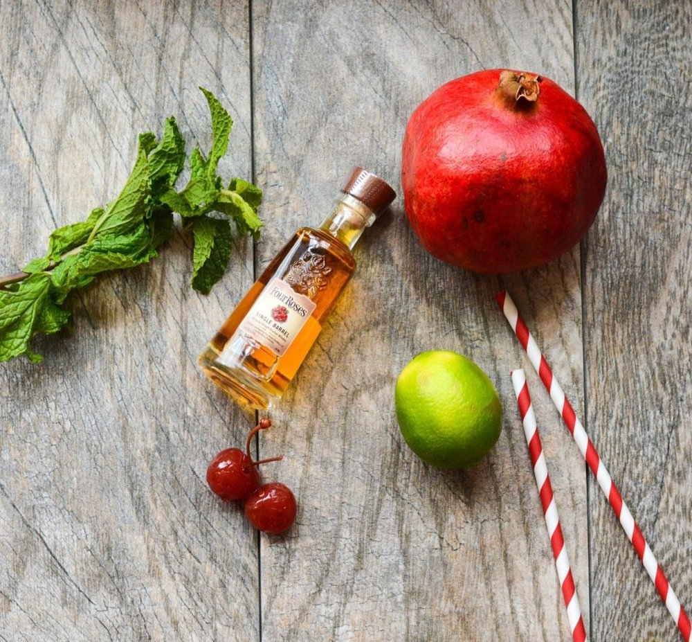 ~Tart Cherry and Pomegranate juice are the perfect way to enjoy your favorite Bourbon. Garnished with fresh mint and cherries ~