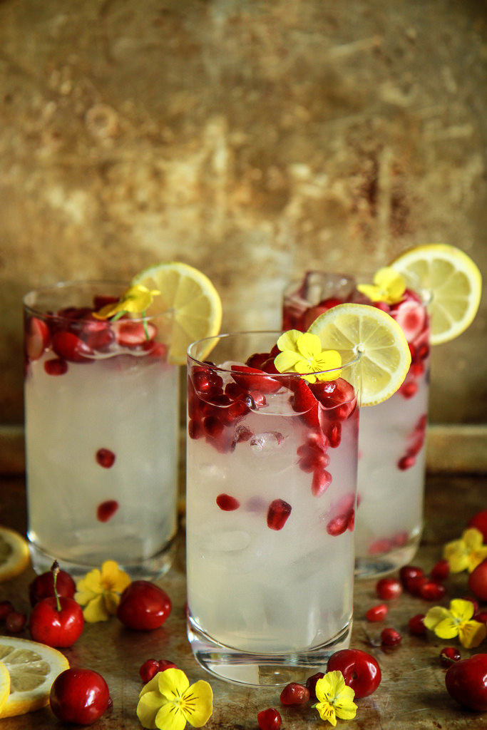 Pomegranate Cherry Ginger Vodka Lemonade with Last night's Mistake