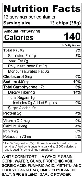 Nutritional Information Pasqual S Cantina Foods