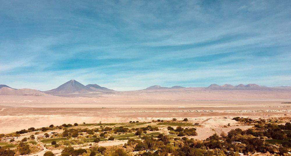 View from Pukará de Quitor, San Pedro de Atacama, with the volcano Licancabur ('Montaña del Pueblo') on the background.