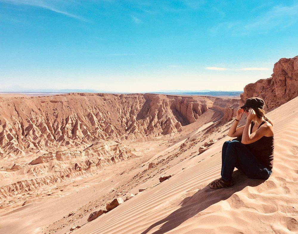 At the top of a desert dune (over 100 m height), near  San Pedro de Atacama, Chile .