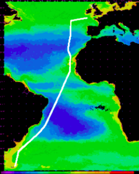This is the trajectory of the first AMT expedition which took place from 21 September to 24 October 1995 on-board the RRS  James Clark Ross.  The ship sailed from Grimsby (UK) to Montevideo (Uruguay) and then continued on to Stanley (Falkland Islands). Read more about it  here .