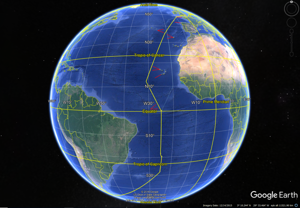 A Google Earth view of the AMT28 sampling track grid.