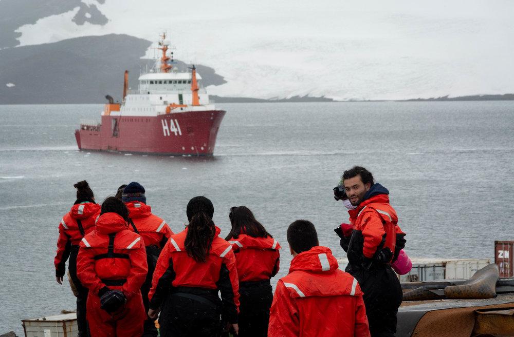 Polar Ship Admiral Maximiano sighted from the Antarctic station Comandante Ferraz.