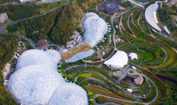 Eden Project from above.  Reclamation of Clay Mine.