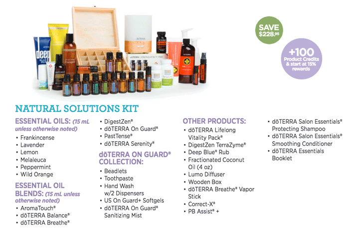 $733  / You Pay $550 - The Natural Solutions kit gives you the 18 most popular oils, the Aroma Lite diffuser (runs 8 hours), doTERRA's Shampo and Conditioner, Deep Blue rub, a wooden storage box and much more.