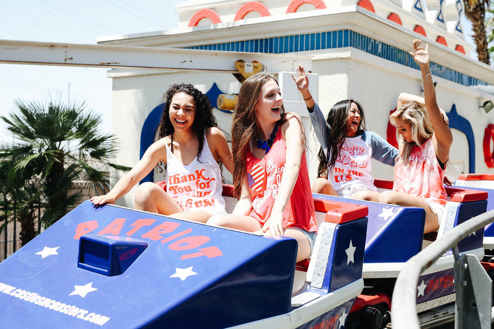 A group of girls riding the Patriot