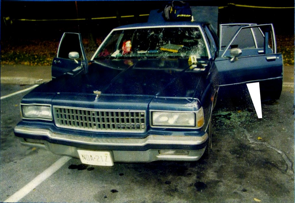 The Snipers Blue Caprice as it was found with the two killers in it at the Myersville Maryland Rest are off of Interstate 70 in Frederick County Maryland