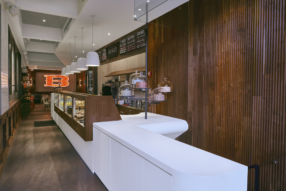 Natural light filtering into the bakery, Baked, located in Tribeca. MEP designed by New York based firm, 2LS Consulting Engineering.