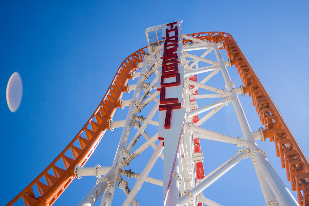 The Thunderbolt red-lettered signage attached to the Thunderbolt Roller Coaster's skeleton. MEP designed by 2LS Consulting Engineering.
