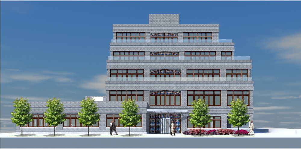 Exterior rendering of the Desales building with stained glass windows accenting the center windows and entrance. MEP designed by 2LS Consulting Engineering.