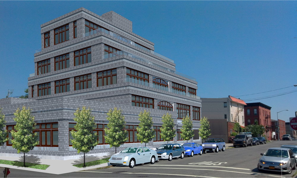 Exterior rendering of the Desales building in Brooklyn, consisting of four floors and a cellar level with broadcast studios, a control room, and an office space. MEP by 2LS.
