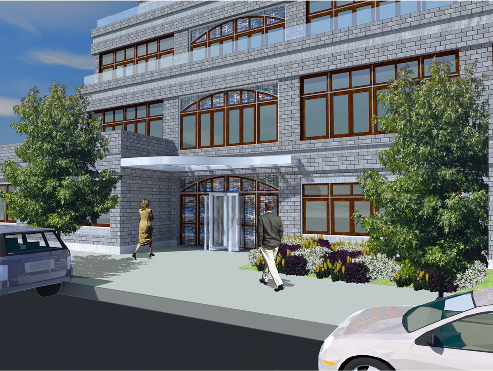 Rendering of a man and a woman entering a brick building with stained glass windows and a revolving door entrance. MEP for the Desales building designed by 2LS.