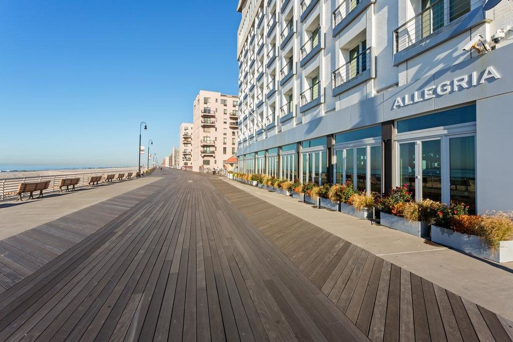Boardwalk entrance to Allegria Hotel, a luxury hotel at Long Beach, New York, where 2LS provided MEP services to support the conversion of multiple spaces.