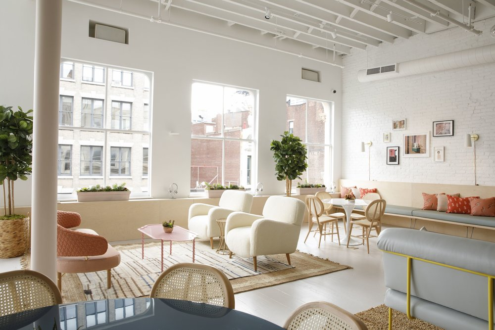 Midcentury modern design in lounge areas of the Wing Soho, New York. MEP by 2L Engineering, a New York based firm.