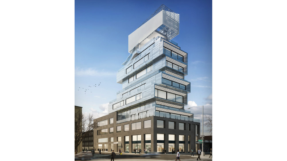 Rendering of a cantilevered exterior of an office building planned for Williamsburg and overlooking Manhattan.