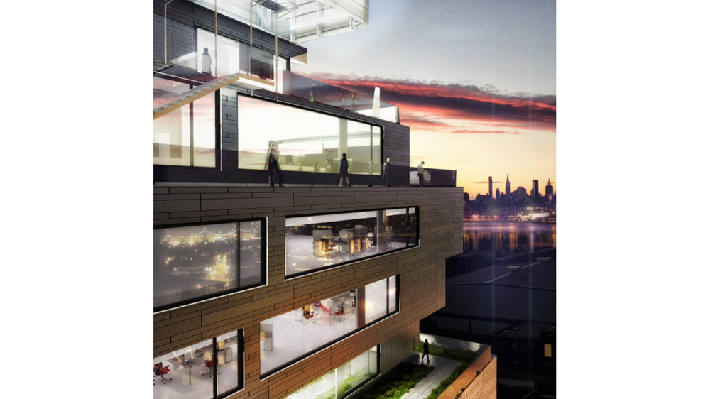 Rendering of people on a balcony in Williamsburg enjoying the view of Manhattan and the sunset. MEP Engineering designed by 2L Engineering
