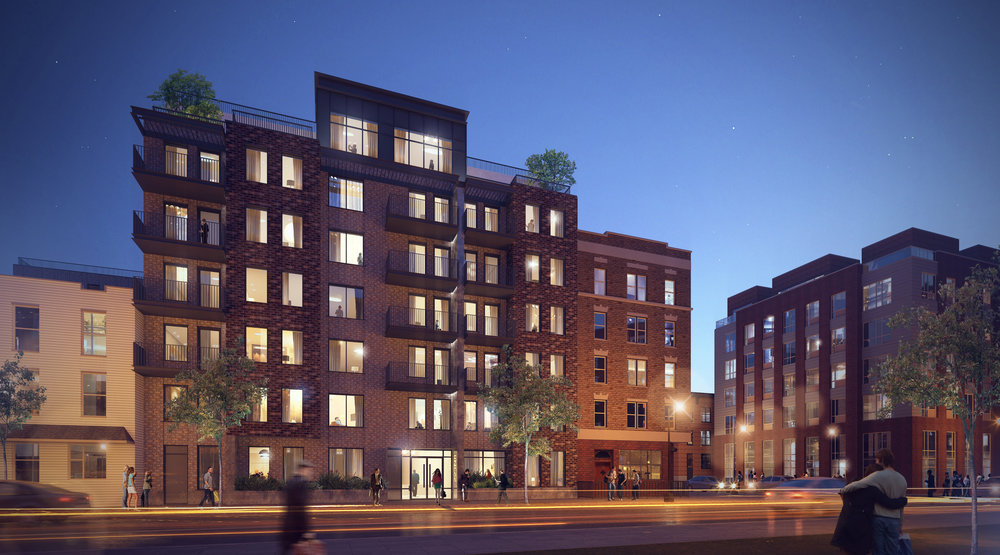 Nighttime rendering of a condominium consisting of 95 apartments in Brooklyn. MEP designed by 2L Engineering.