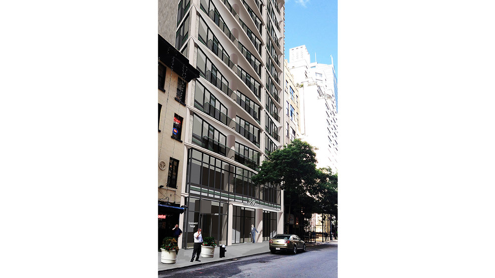 Exterior rendering of street view of a mid-rise rental building in Manhattan's Midtown East. MEP designed by 2L Engineering.