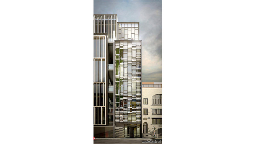 Rendering of a bright, modern, residential building located in Chelsea along the High Line, New York. MEP design by 2L Engineering.