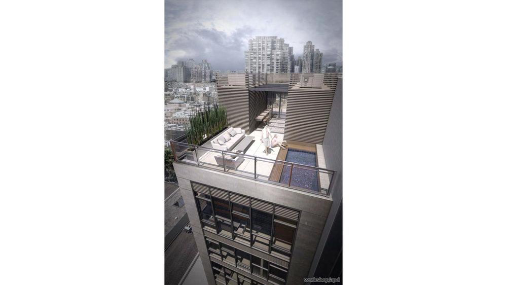 Rooftop view of luxury condominium with people enjoying the pool; located in the Chelsea neighborhood. MEP design by 2L Engineering.