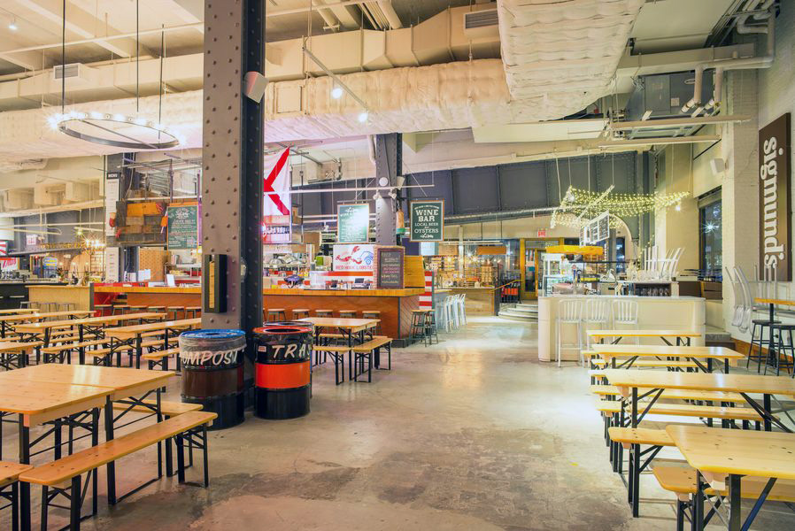 Food vendors and eating spaces in Urbanspace Vanderbilt, located near Grand Central Terminal. MEP designed by New York based firm, 2LS Consulting Engineering.