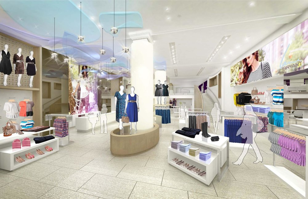 Rendering of the brightly lit interior space of Lane Bryant's flagship retail store in Herald Square. MEP designed by New York based firm, 2L Engineering.