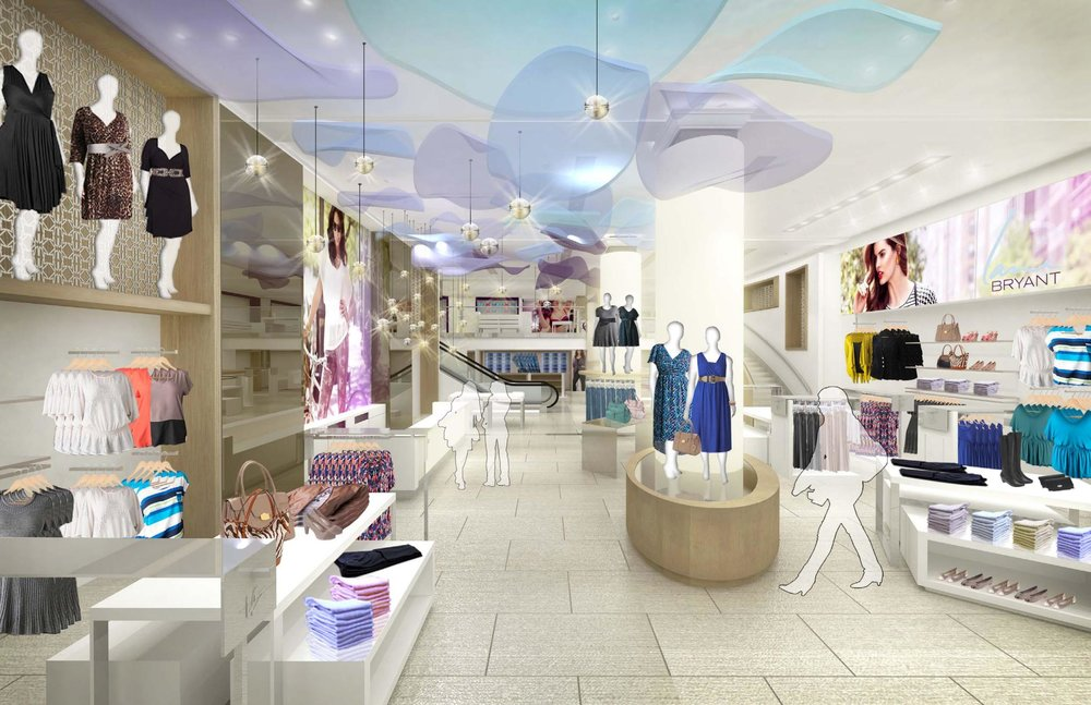 Rendering of silhouetted customers viewing the different display racks and mannequins with petals on the ceiling of Lane Bryant's flagship retail store. MEP by 2LS Consulting.