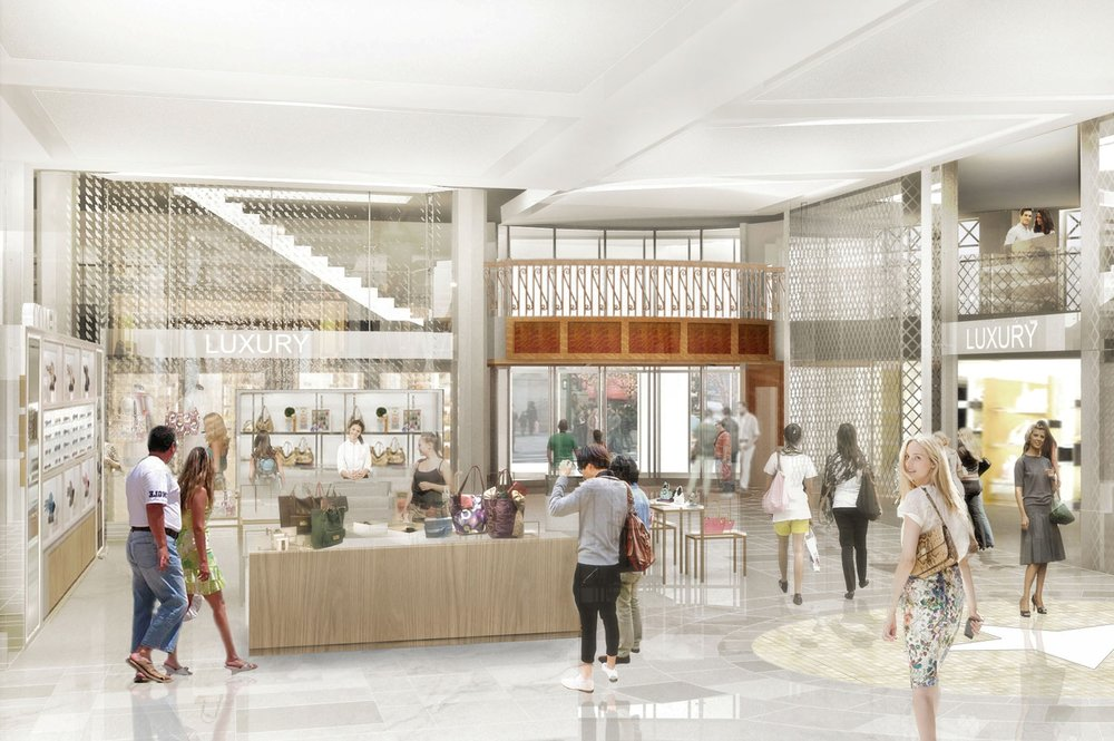 Rendering of people shopping in Macy's Herald Square, New York. MEP design services by 2LS Consulting Engineering.