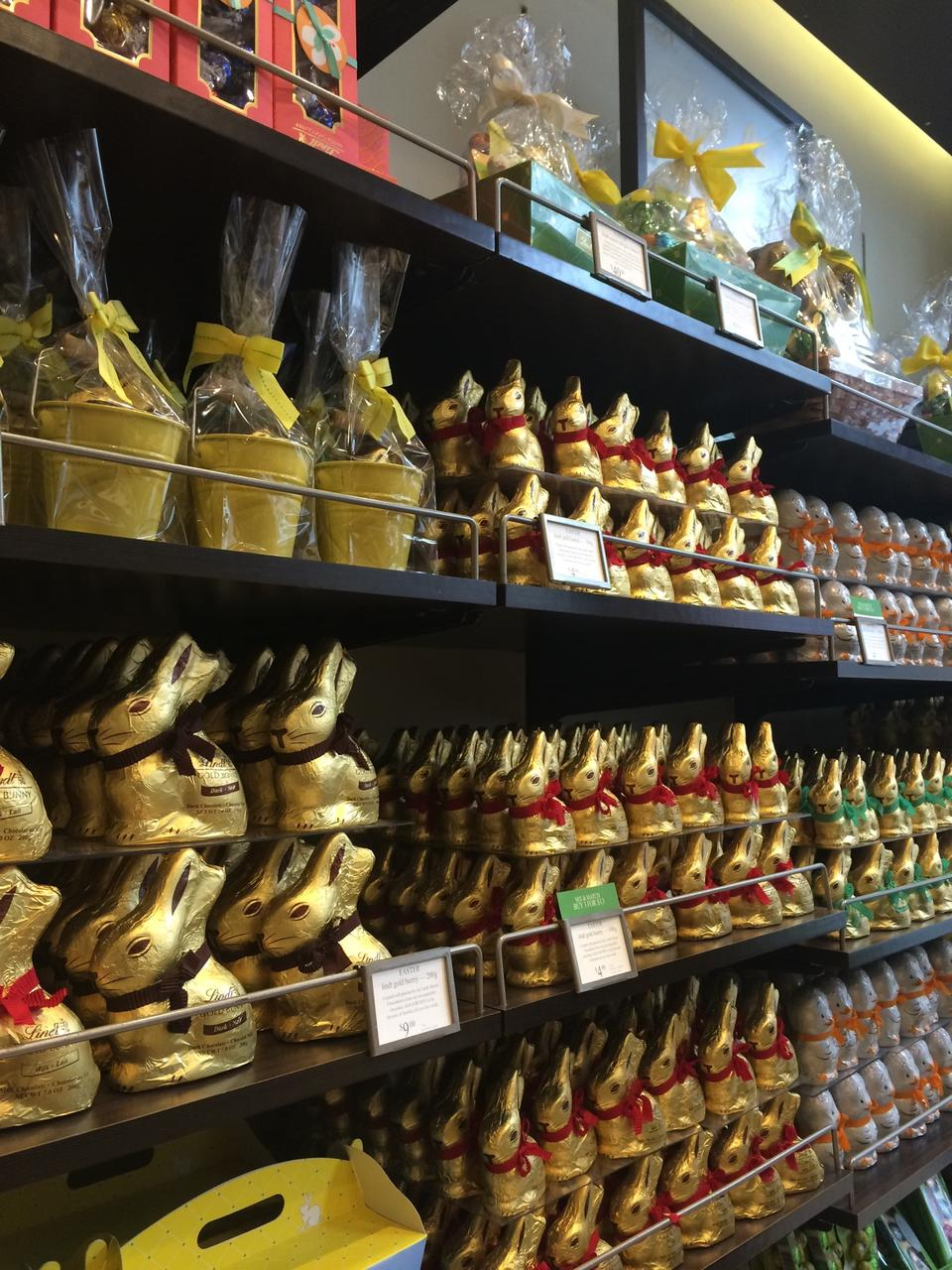 Lindt Chocolate's Easter display with chocolate rabbits in gold foil and bows wrapped around their necks. MEP designed by 2LS Consulting Engineering.