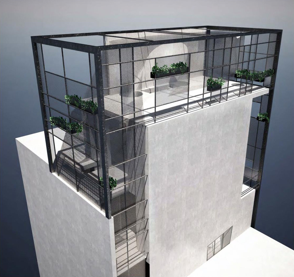 Rendering of an alternate view of a 7 story single family townhouse with distributed wall planters. MEP designed by 2LS Consulting Engineering.