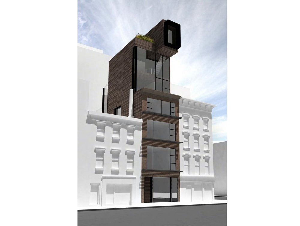 Exterior rendering of a Hudson Square seven story single family townhouse without the outermost porous trellis system. MEP designed by 2LS Consulting Engineering.