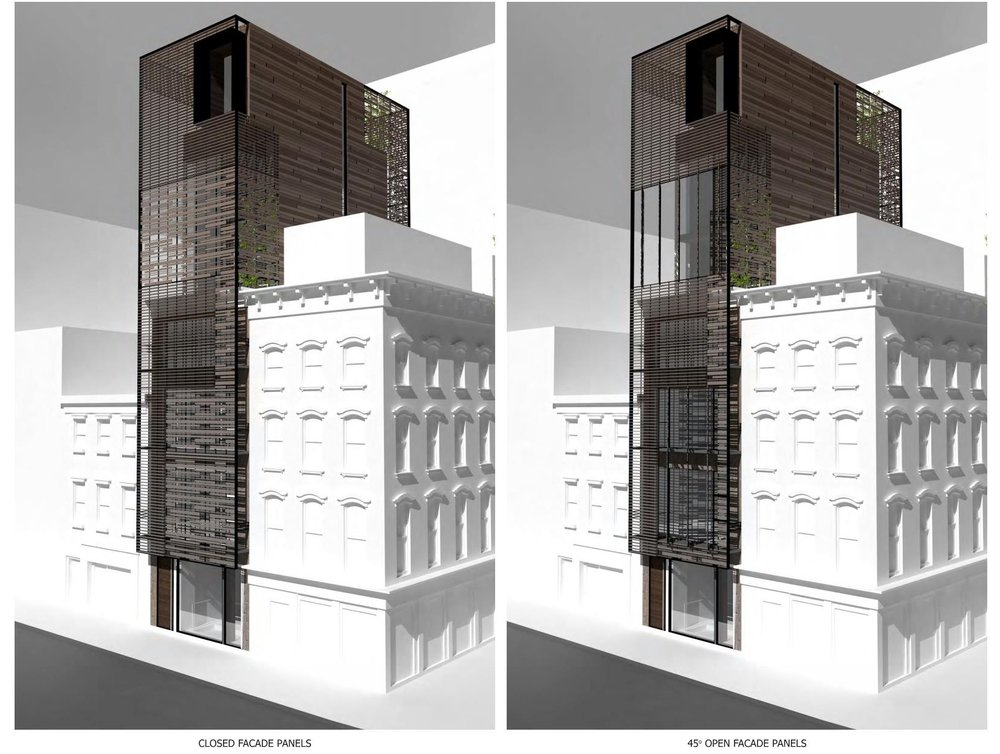 Exterior renderings of a porous trellis system featuring alternative designs for enhanced privacy. MEP designed by 2L Engineering.