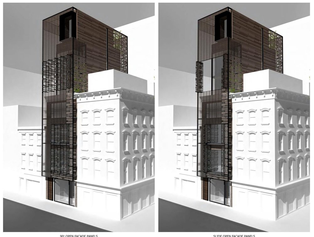 Exterior renderings of a porous trellis system with different operable openings illustrated on a 7 story single family townhouse. MEP by 2LS Consulting.