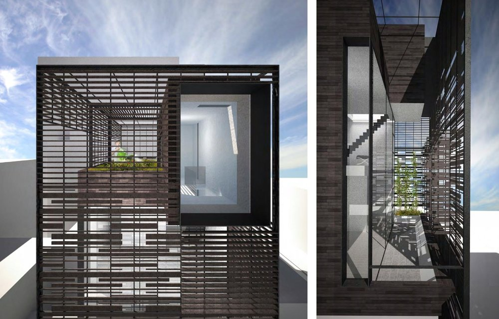 Detailed renderings of the porous trellis system that allows light to filter into the townhouse while also providing privacy for the family. MEP by 2LS Consulting.