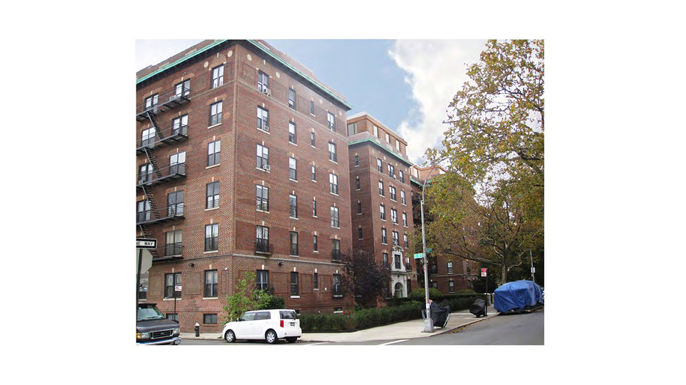 View of 31 Ocean Parkway, a residential building with a brick exterior in Brooklyn, New York. MEP provided by 2L Engineering.