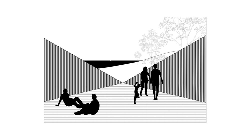 Illustration of silhouette people sitting and standing on a platform in an Long Island home. MEP designed by 2LS Consulting Engineering.