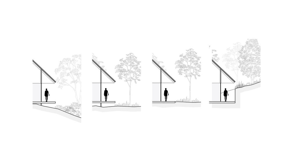 Illustration of a person standing on the porch of a home in Long Island with different landscaping options. MEP provided by 2LS Consulting Engineering.