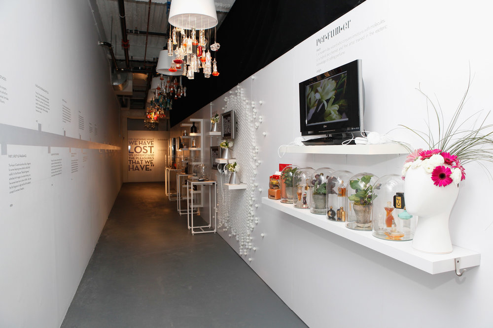 Gallery display with perfumes, a timeline illustrated on the wall along with quotes, and shelving holding different materials. MEP designed by 2L Engineering.
