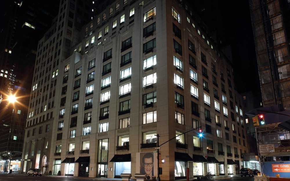 Exterior view of Barney's New York department store at night. MEP designed by 2LS Consulting Engineering.