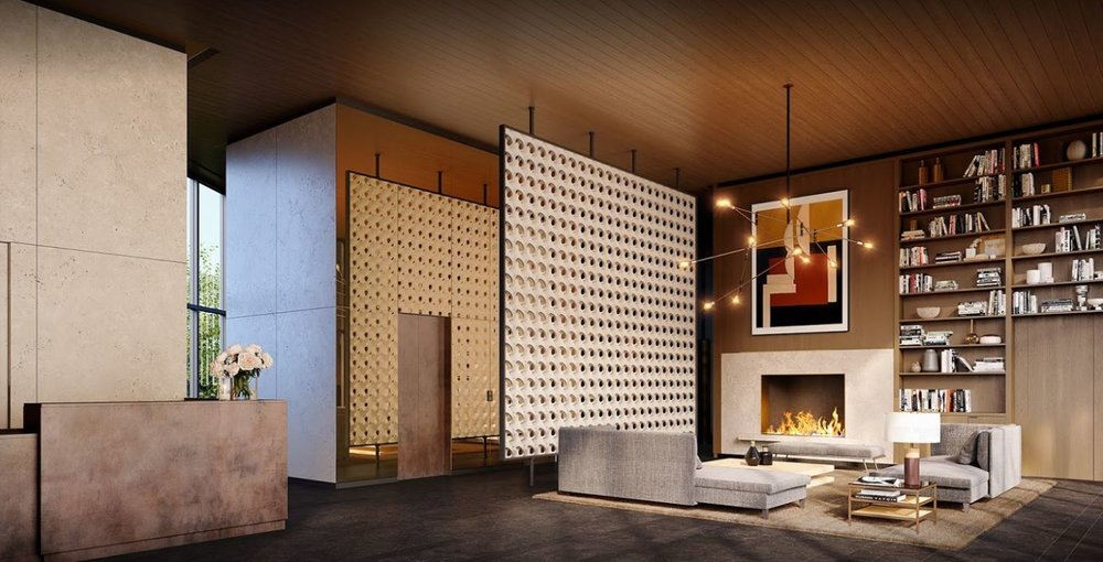 Porous partition walls, a fireplace, and bookcase in the lobby space of a newly renovated high rise apartment building. MEP provided by 2LS Consulting.