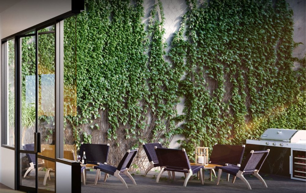 Living green wall on the patio area of a luxury residential building. MEP designed by 2L Engineering.
