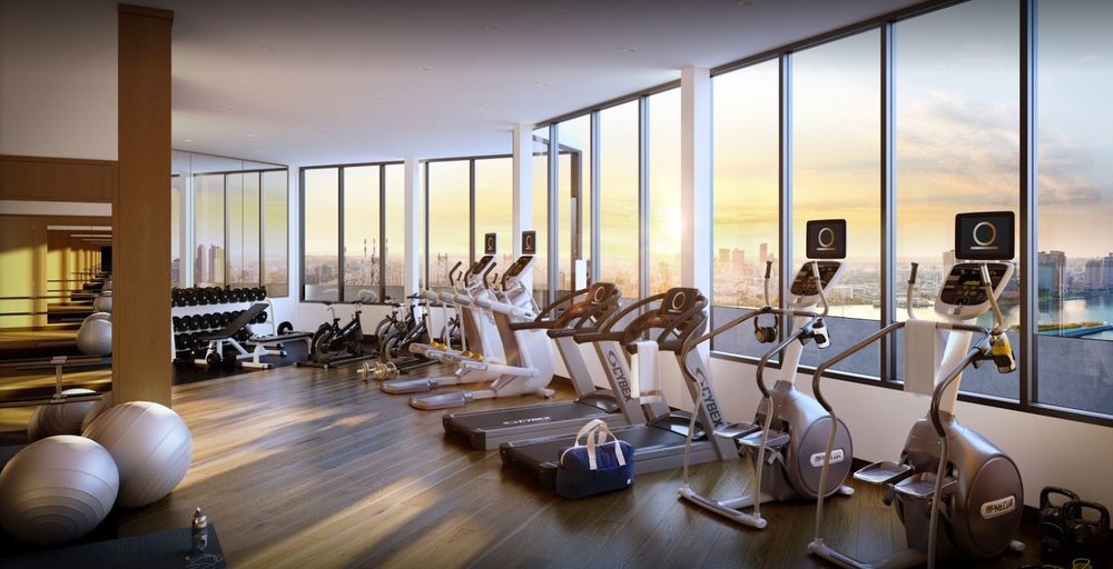 Newly renovated gym in a luxury high rise building in Manhattan, New York. MEP designed by 2L Engineering.