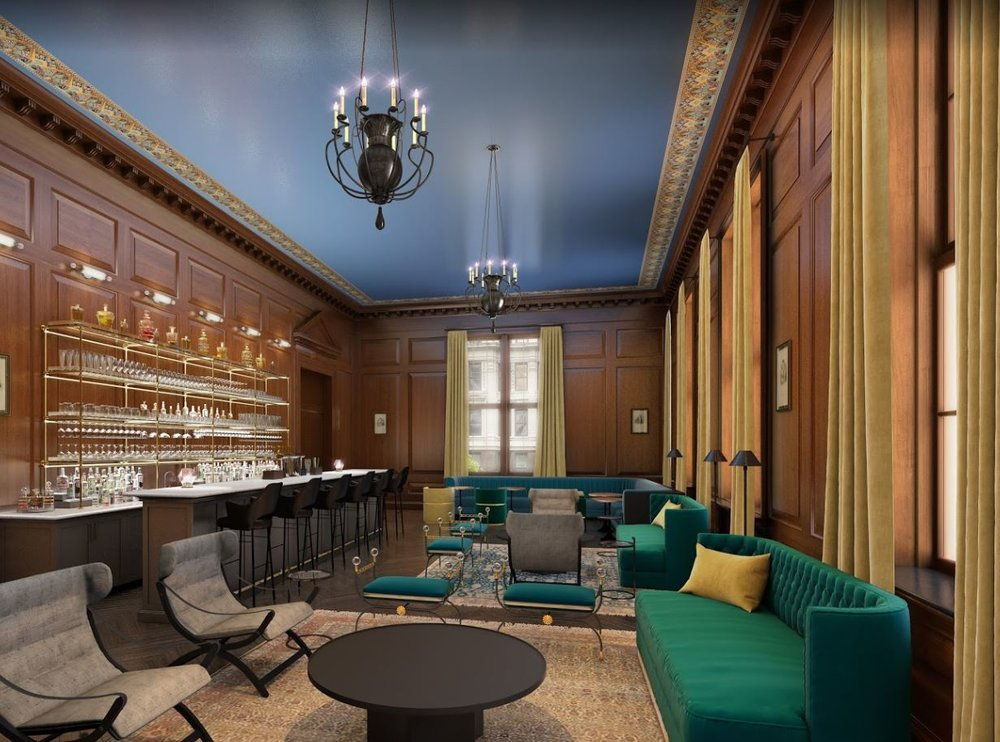 Rendering of a private, residents-only speakeasy bar in a luxury building with twenties era design. MEP provided by 2L Engineering.