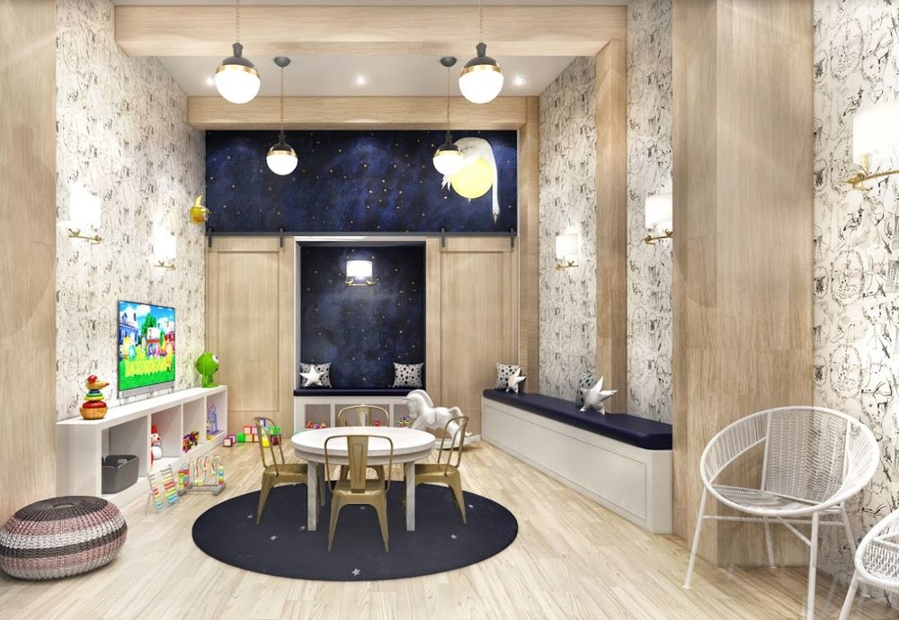 Rendering of a playroom with illustrations on the walls and a mother goose night time theme. MEP provided by 2L Engineering.