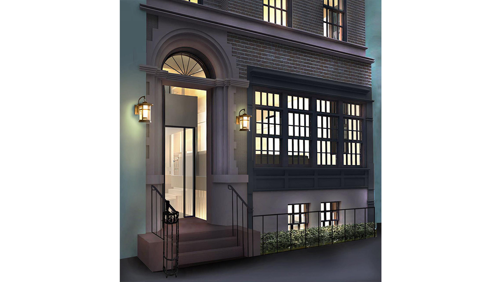 Exterior rendering of the entrance to a townhouse on Park Avenue. MEP designed by 2L Engineering.