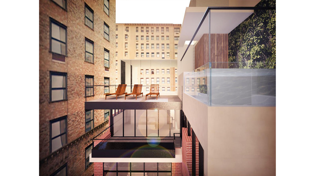 Balcony and outdoor pool rendering on the top of a luxury townhouse on Park Avenue. MEP provided by 2LS Consulting Engineering.