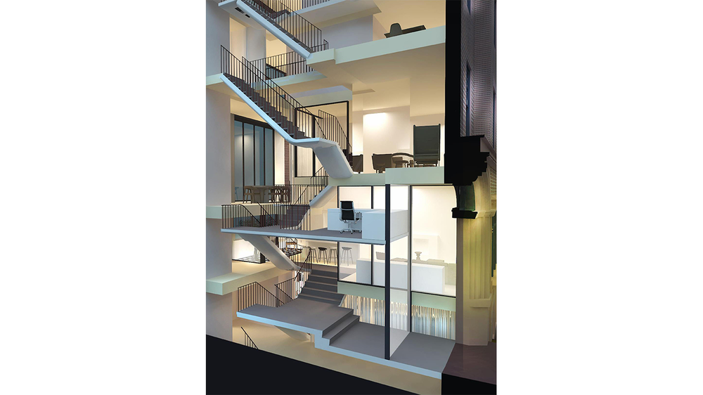 View of the study and multiple staircases in an Upper East Side townhouse. MEP by 2L Engineering.