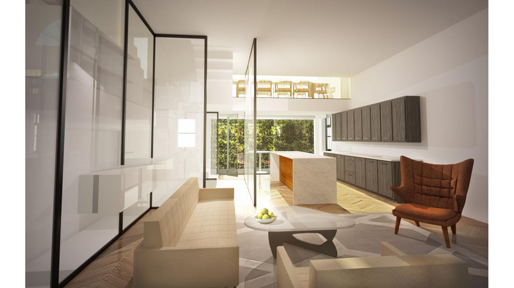Living room and bar area rendering inside an upscale luxury home on the Upper East Side. MEP by 2L Engineering.